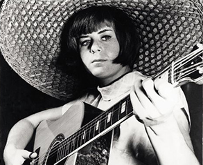 Young Pam Ayres with Guitar